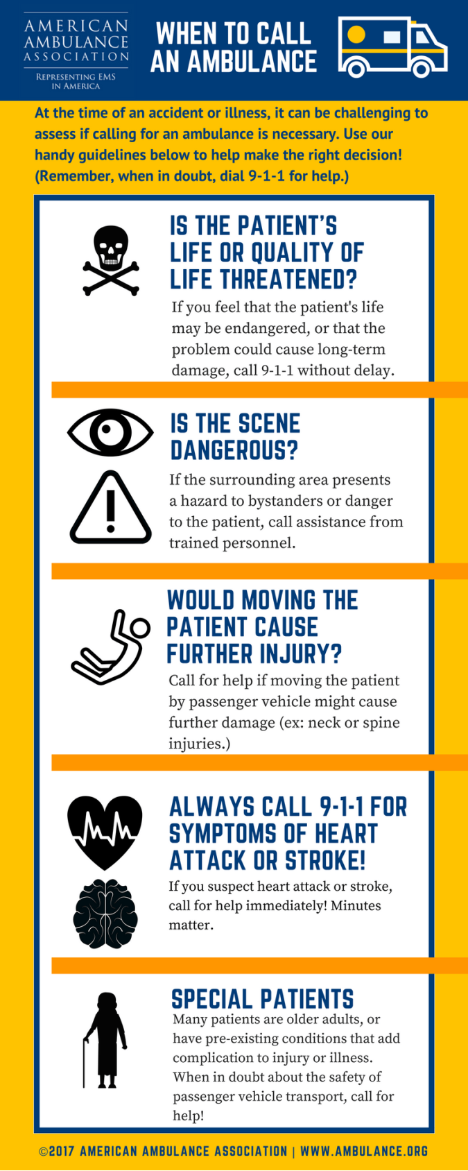 American Ambulance Association When to call an ambulance graphic
